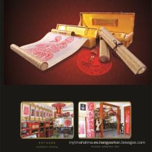 Papel chino rojo hecho a mano de seda de pergamino