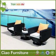 Table et chaise en osier de jardin extérieur de meubles de rotin de luxe