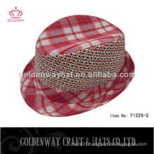 beautiful red fedora hats for lady cotton 100% LED flash fo party