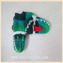 kids frog pattern knitted gloves