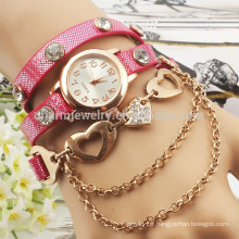 2015 New fashion wrap bracelet watch crystal rhinestone long leather women wrist quartz watches dress lady watch BWL004