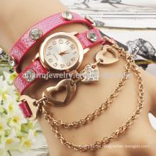 2015 Новый моды обернуть браслет часы кристалл горный хрусталь длинный кожаный запястье женщин кварцевые часы платье леди смотреть BWL004
