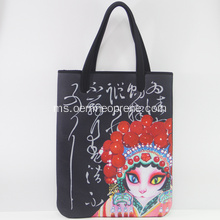 Soft Beijing Opera Printing Neoprene Big Shoulder Handbag