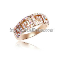 Moda banhados a ouro 18k anéis de diamante casal