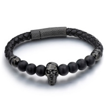 Leather rose gold skull charm onyx bead bracelet