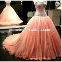 2014 New Arrival Real Sample Picture Peach Color Sweethear Beading Long Wedding Dress Bridal Women Gown Free Shipping JWD115