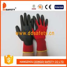 Nylon-Polyester-Liner Handschuh PU beschichtet auf Handfläche und Finger Dpu138
