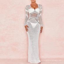 White Backless Crochet Maxi Casual Beach Dress