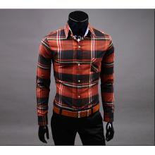 Men's trim style long sleeve cotton flannel shirt