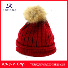 2016 custom design high quality winter hats with ball on top