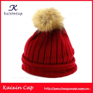 2016 design personalizado de alta qualidade inverno chapéus com bola no topo