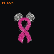 Ears Pink Ribbon Hot Fix Rhinestone Transfer