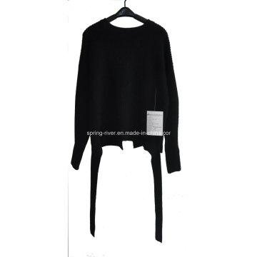 Invierno puro color Knit Back Slipt suéter para las mujeres