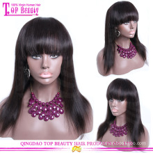 Wholesale factory price human hair wigs with bangs high level glueless human hair full lace wigs with bangs