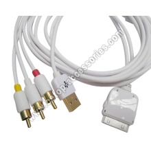 TV RCA Video Composite AV Cable +USB For Apple iPad 2 iPhone