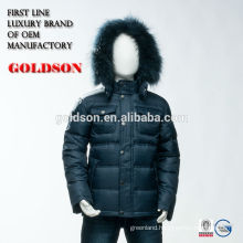 European Design Long Warm Winter Children Sets Boy Grey Long Goose Down Jacket with Fur Hood
