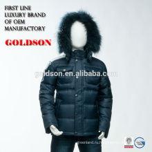 Европейский дизайн длинная теплый зима дети устанавливает мальчик серый длинный гусиный пух куртка с мех капюшон