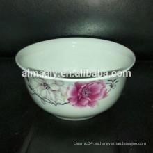 Porcelana blanca tazón de arroz tazón de cerámica tazón de fuente de sopa
