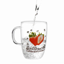 Water Glass Cup With Strawberry Printing