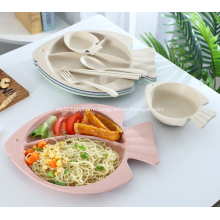 Fish Shape Wheat Straw Tableware Set for Baby