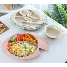 Fischform Weizenstroh Geschirr Set für Baby