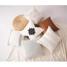Fundas de cojín de almohada blanca lisa de lino de algodón puro