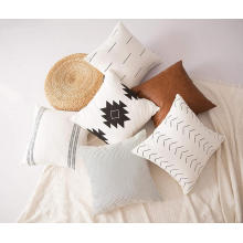 Pure cotton linen plain white pillow cushion covers