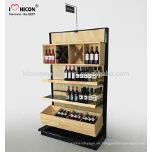 Proporcionar atractiva y creativa plegable-Vino Vinilo pantalla de pie de pie botella de cerveza de bambú Almacén de venta Madera pantalla estante