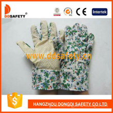 Gardening Gloves. Yellow Dots on Palm. Flower Design Back. (DGB103)