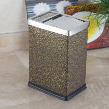 Cloud Design Leather Surrounded Stainless Steel Dustbin (GA-10LG)