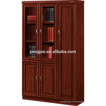 high end antique wooden bookcase with photos