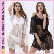 Mulheres mais tamanho Verão Beach Sexy Lace Beach Dress (50094)