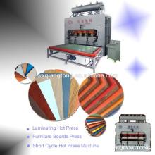 Máquina de laminación en caliente de laminado de melamina de ciclo corto para muebles de madera