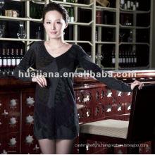 Elegent женщин V шеи платье свитер 100% кашемир