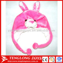 Hot Sale ! Lovely plush pink rabbit animal winter earflap hats