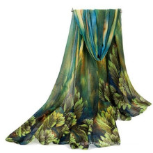 Fashion Lightweight whosale Comfortable skiny Luxury Polyester printed floral Voile scarf muslim head scarf hijab abaya