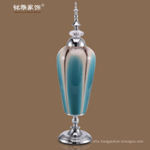 ceramic flower vases with metal lid and base in bluey-green color at wholesale price for wholesale