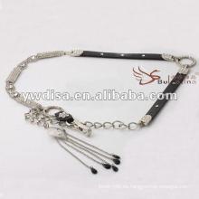 La cintura de las mujeres de la manera pavimentó con los rhinestones en PU con el diseño de la borla de cadena el mejor de YIWU DISHA