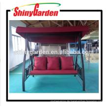 3-Person rot kurze Faser Schaukel Stuhl im Freien Eisen Schaukel