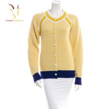 Cardigan femme en cachemire tricoté avec bouton nacré