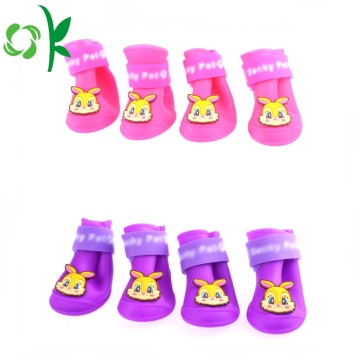 Hot-vente Pet Rainshoes Rain Boot Silicone Chien Chaussures