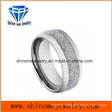 Natural Inlaid Silver Carbon Fiber Tungsten Jewelry Ring
