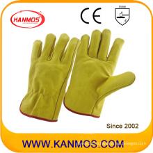 Amarillo de vaca de grano de cuero de seguridad industrial guantes de trabajo (12202)