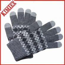 Модные зимние теплые женские жаккардовые акриловые перчатки