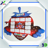 2016 Customized PVC 3D calendar design with emboss effect