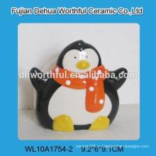 Новый дизайн handpainting penguine керамический держатель салфетки