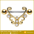 Customized Size 316L Surgical Steel Gold Plated Barbell Nipple Shield