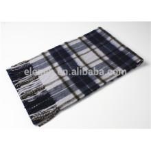 Multicolor hilo teñido cachemira bufanda con franja para los hombres