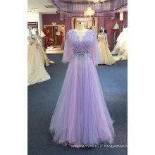 Robes de soirée violette perles de fleurs