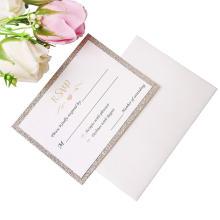 25 Шт. Лот Золотые Блеск Карты С Печатными + Бесплатные Конверты Картон Бумага Блеск Блеск Свадебные Приглашения